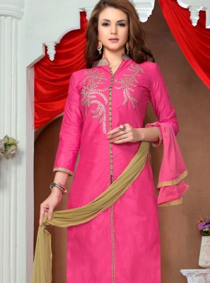 Embroidered Cotton   Pink Pant Style Suit