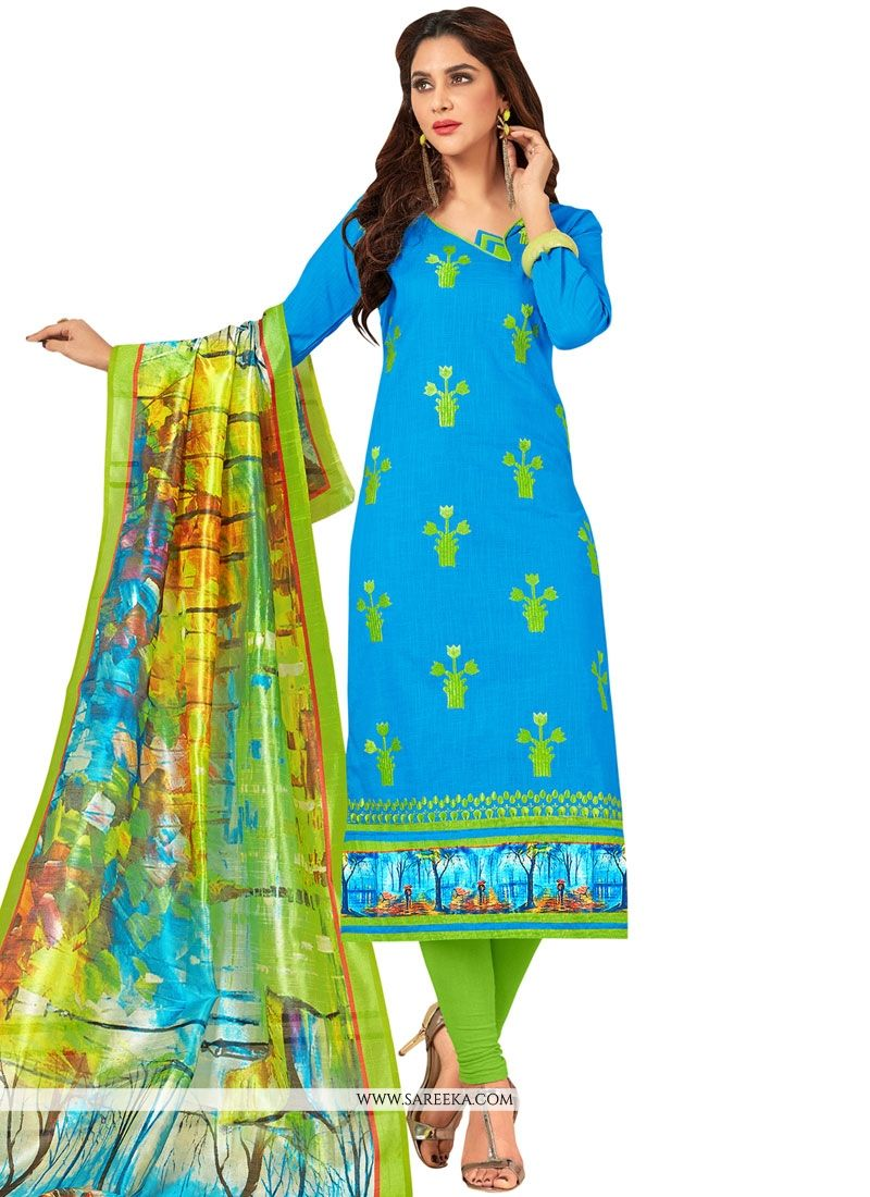 Embroidered Cotton   Salwar Suit in Blue