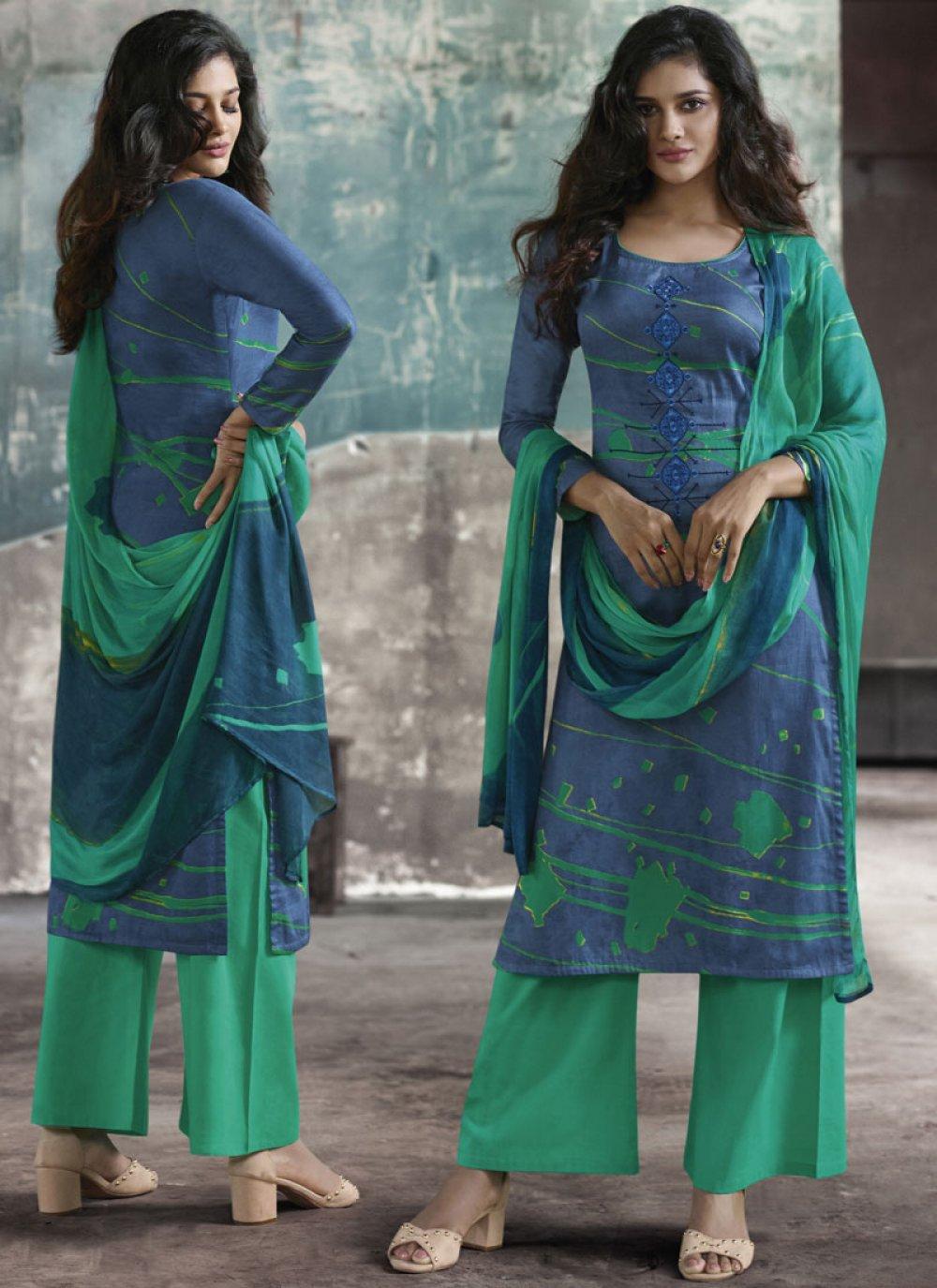 Embroidered Cotton Satin Blue Designer Palazzo Suit
