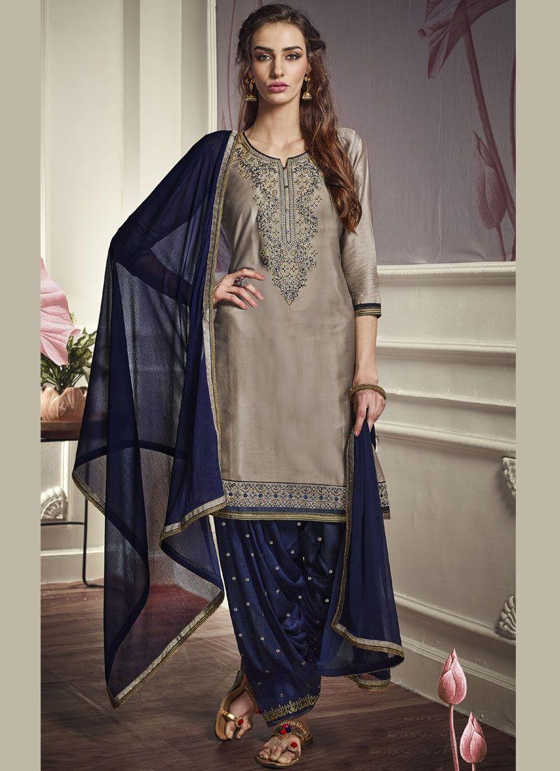 Embroidered Cotton Satin Grey Punjabi Suit