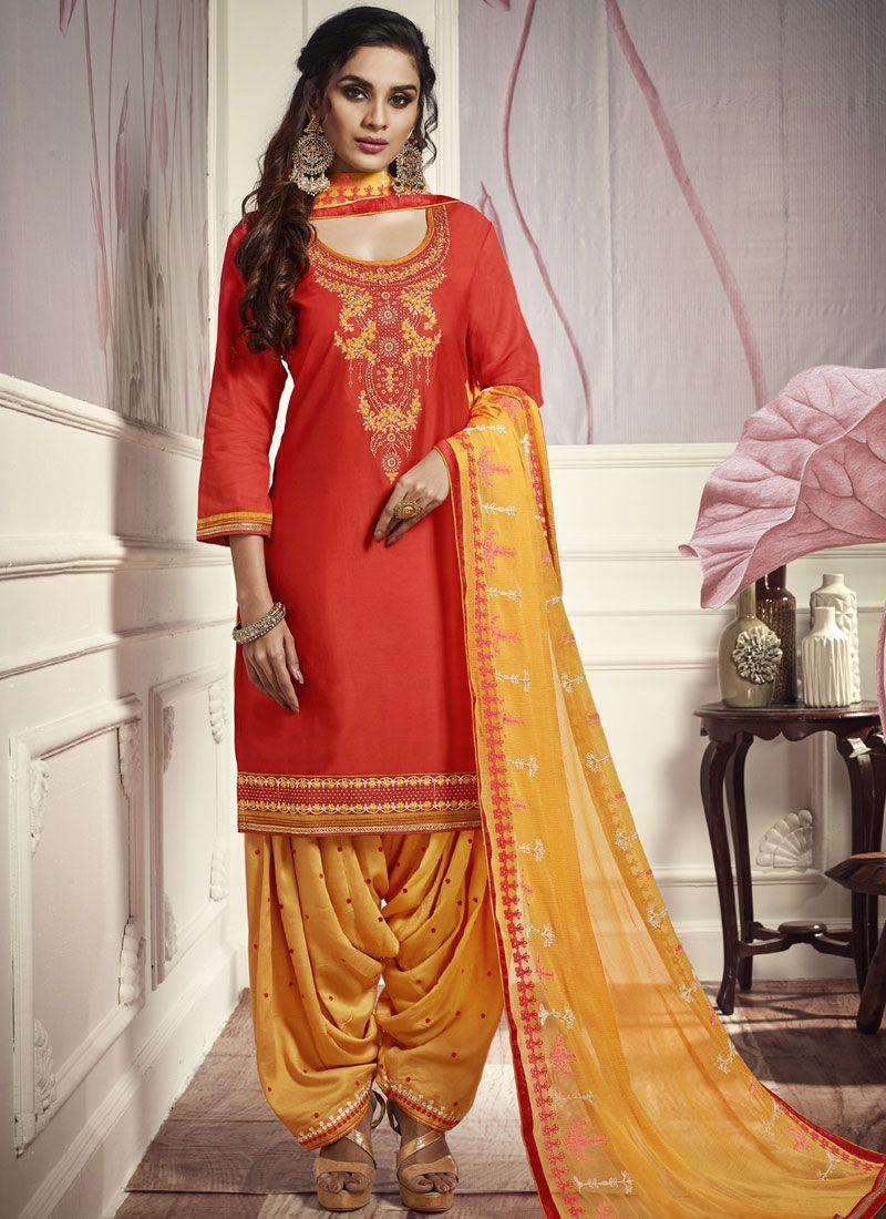 Embroidered Cotton Satin Punjabi Suit