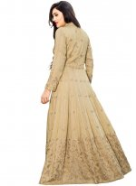 Embroidered Cotton Silk Readymade Gown  in Beige
