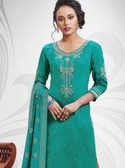 Embroidered Cotton Silk Sea Green Salwar Suit