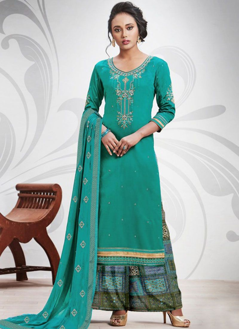 Embroidered Cotton Silk Sea Green Salwar Suit