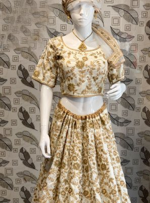 Embroidered Cream Lehenga Choli