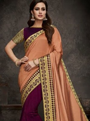 Embroidered Designer Half N Half Saree