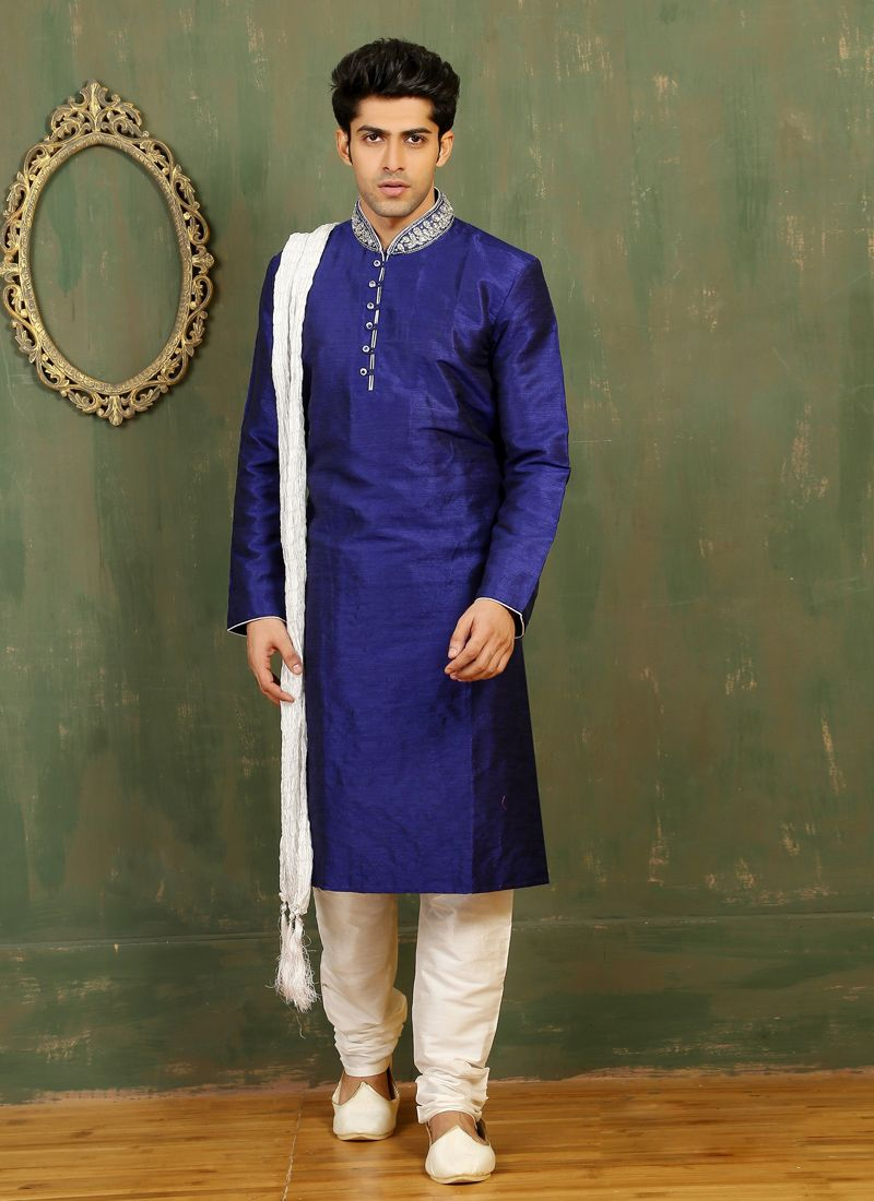 Embroidered Dupion Silk Kurta Pyjama in Blue