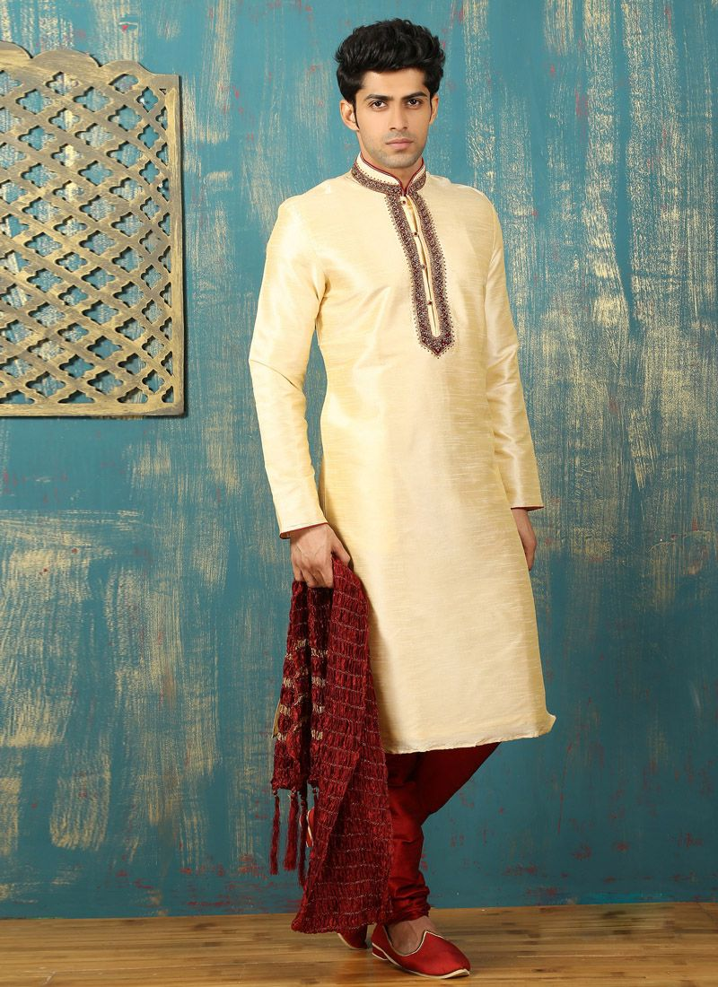 Embroidered Dupion Silk Kurta Pyjama in Cream