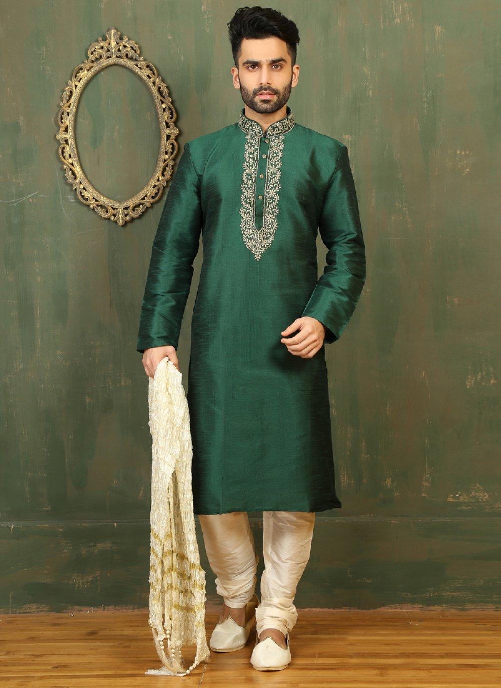 Embroidered Dupion Silk Kurta Pyjama in Green