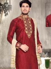 Embroidered Dupion Silk Kurta Pyjama in Maroon