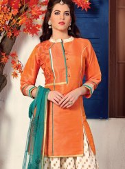 Embroidered Dupion Silk Readymade Suit in Orange
