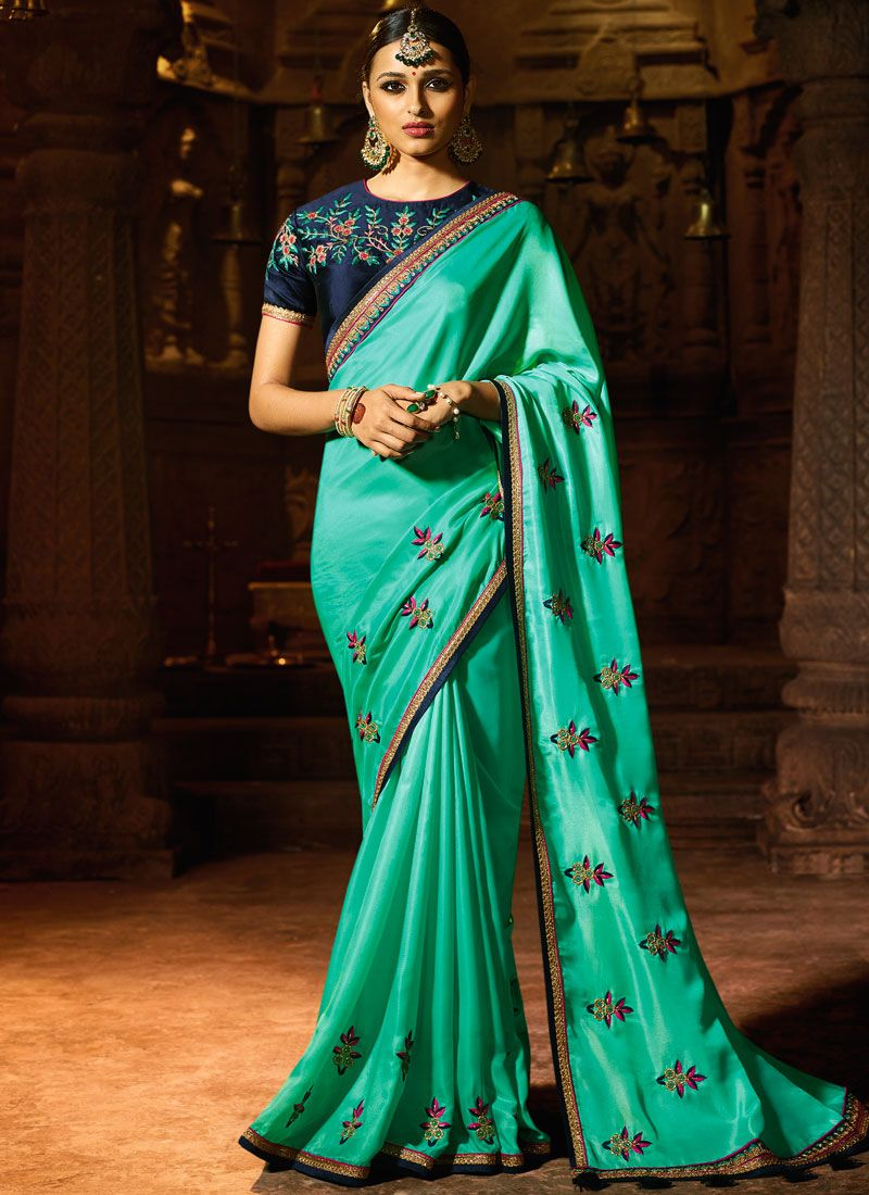 Embroidered Fancy Fabric Designer Saree in Sea Green