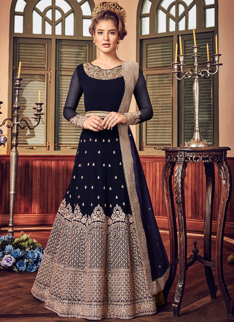 Embroidered Fancy Fabric Floor Length Anarkali Suit