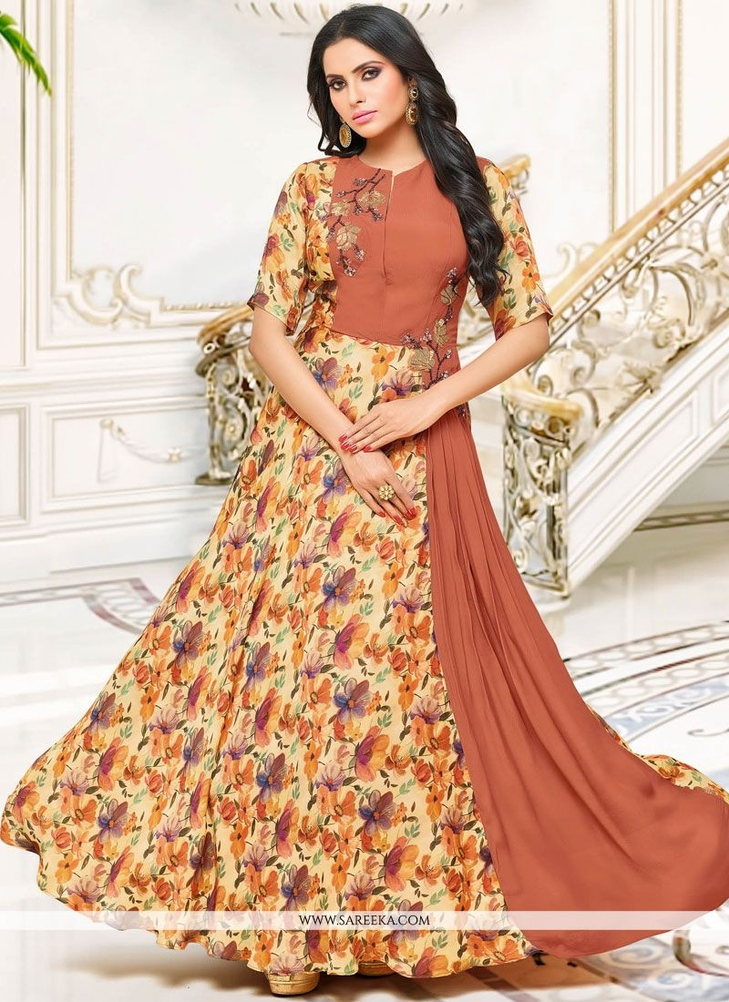 Embroidered Fancy Fabric Party Wear Kurti in Multi Colour