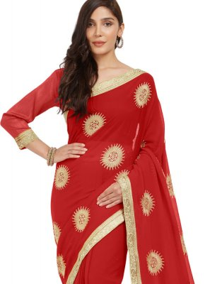 Embroidered Faux Chiffon Casual Saree in Red