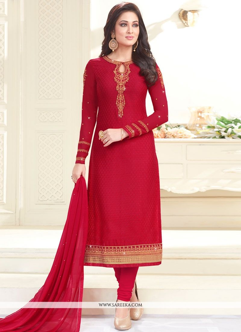Embroidered Faux Chiffon Salwar Kameez in Red