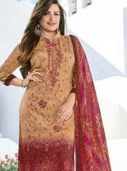 Embroidered Faux Crepe Pant Style Suit in Multi Colour