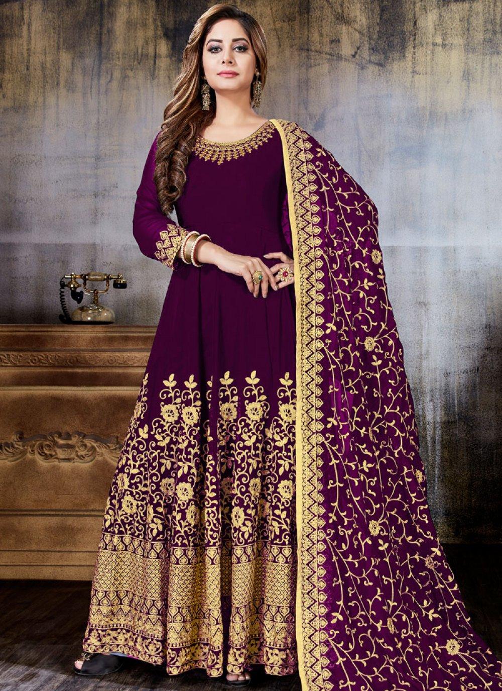 Embroidered Faux Georgette Anarkali Salwar Suit in Magenta