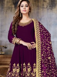 Embroidered Faux Georgette Anarkali Salwar Suit in Magenta