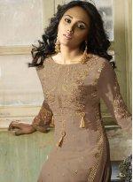 Embroidered Faux Georgette Churidar Designer Suit in Mauve