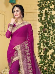 Embroidered Faux Georgette Classic Designer Saree in Magenta