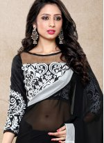 Embroidered Faux Georgette Classic Saree in Black