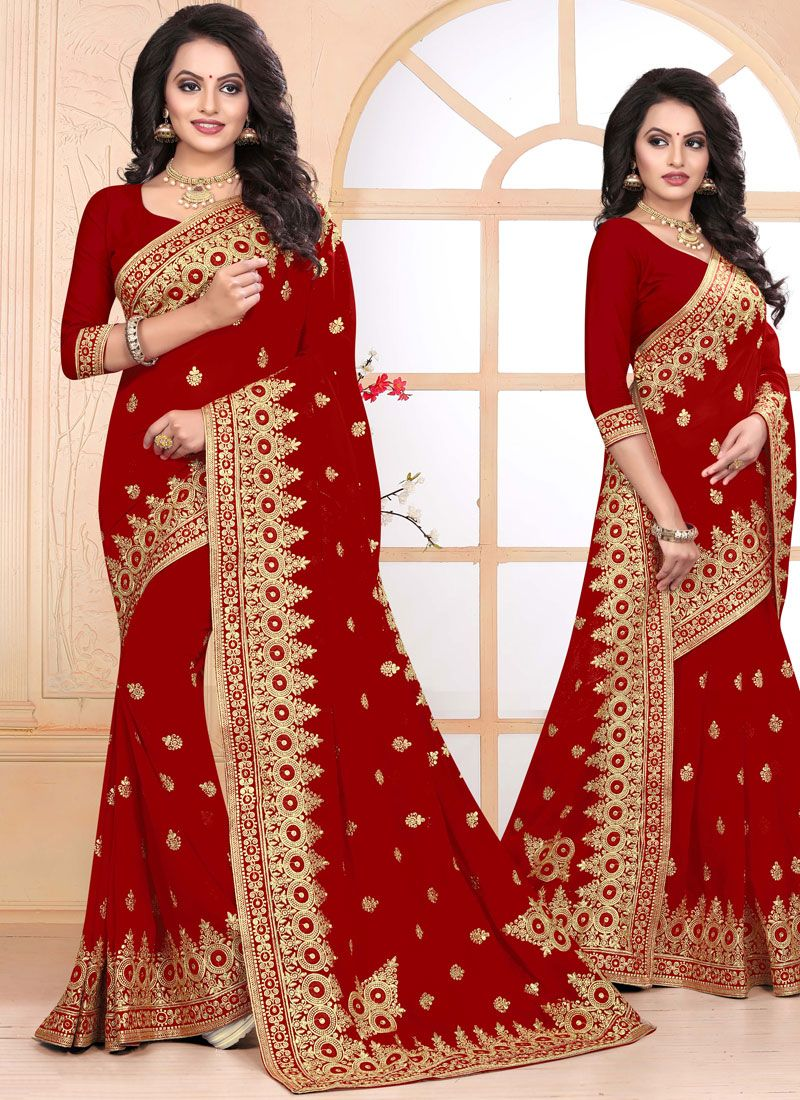 Embroidered Faux Georgette Designer Saree