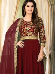 Embroidered Faux Georgette Salwar Suit in Maroon