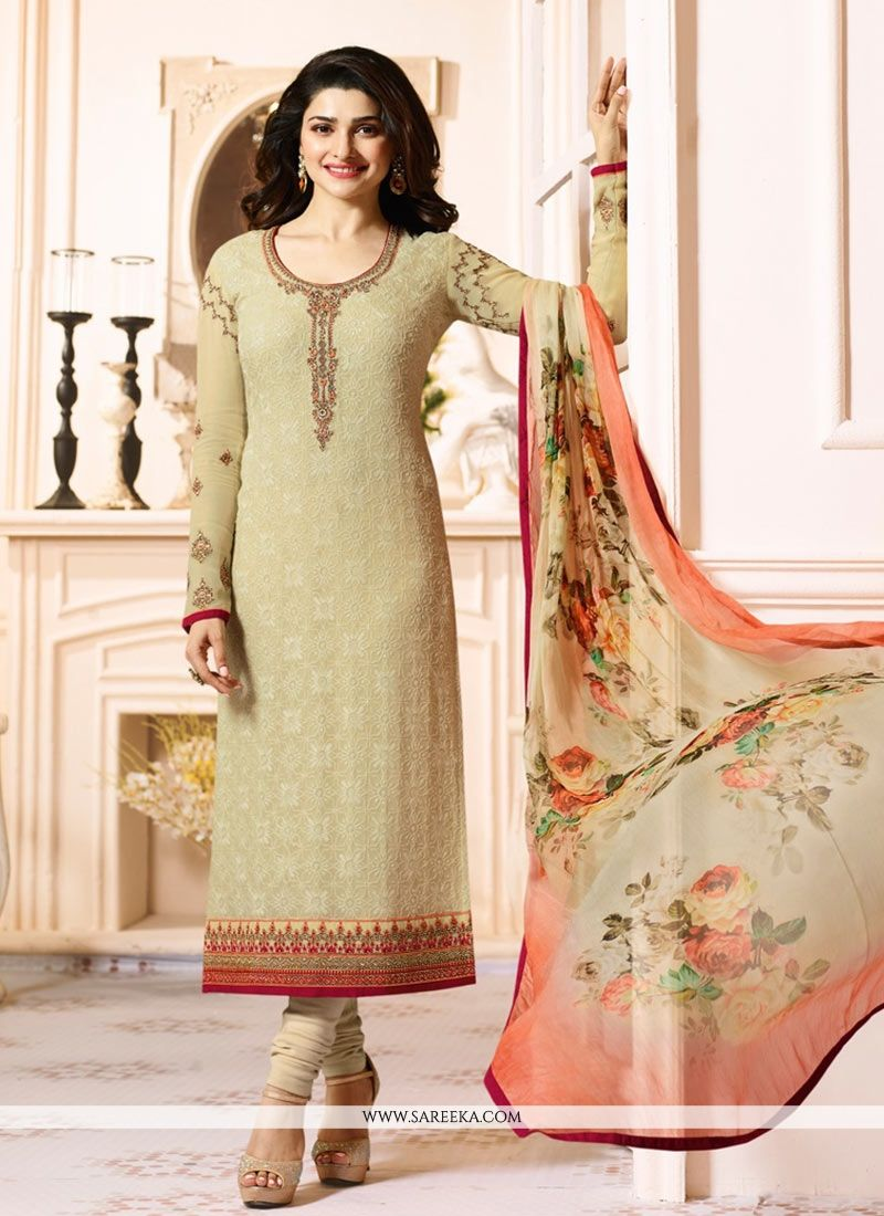 Embroidered Georgette Salwar Suit in Cream