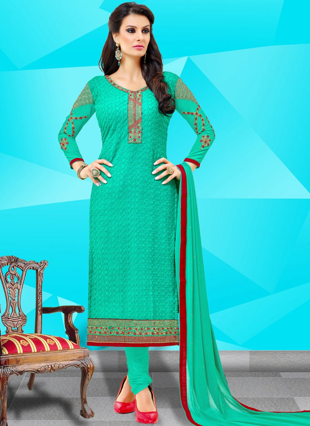 Embroidered Georgette Teal Churidar Suit