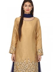 Embroidered Gold Kameez Style Lehenga