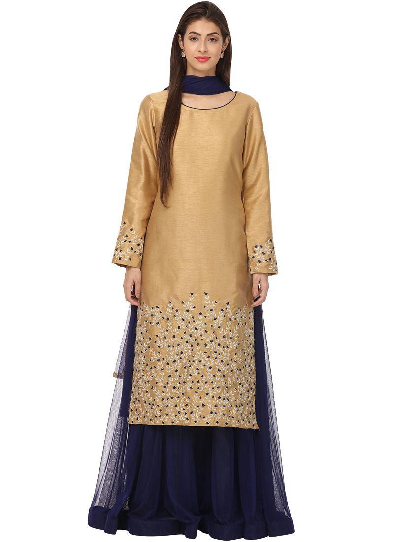 Embroidered Gold Kameez Style Lehenga