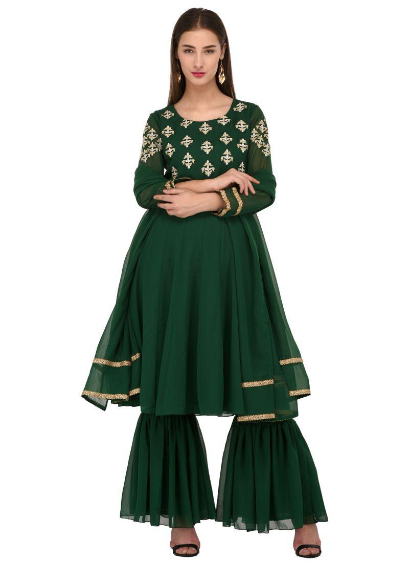 Embroidered Green Anarkali Salwar Suit