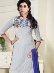 Embroidered Grey Churidar Salwar Kameez