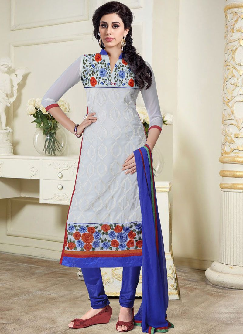 Embroidered Grey Churidar Salwar Kameez