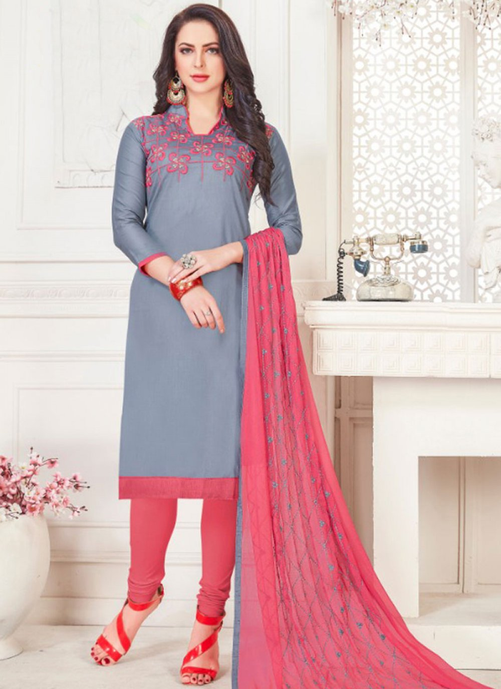 Embroidered Grey Cotton Satin Churidar Suit
