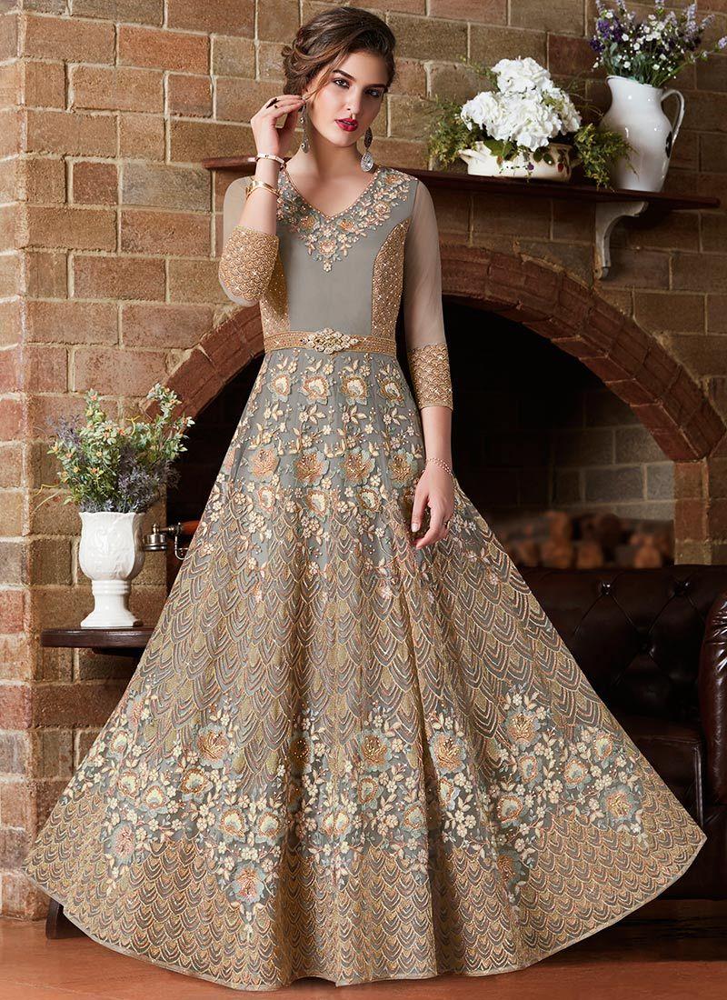 Embroidered Grey Net Floor Length Anarkali Suit