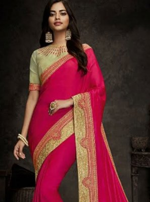 Embroidered Hot Pink Art Silk Designer Traditional Saree
