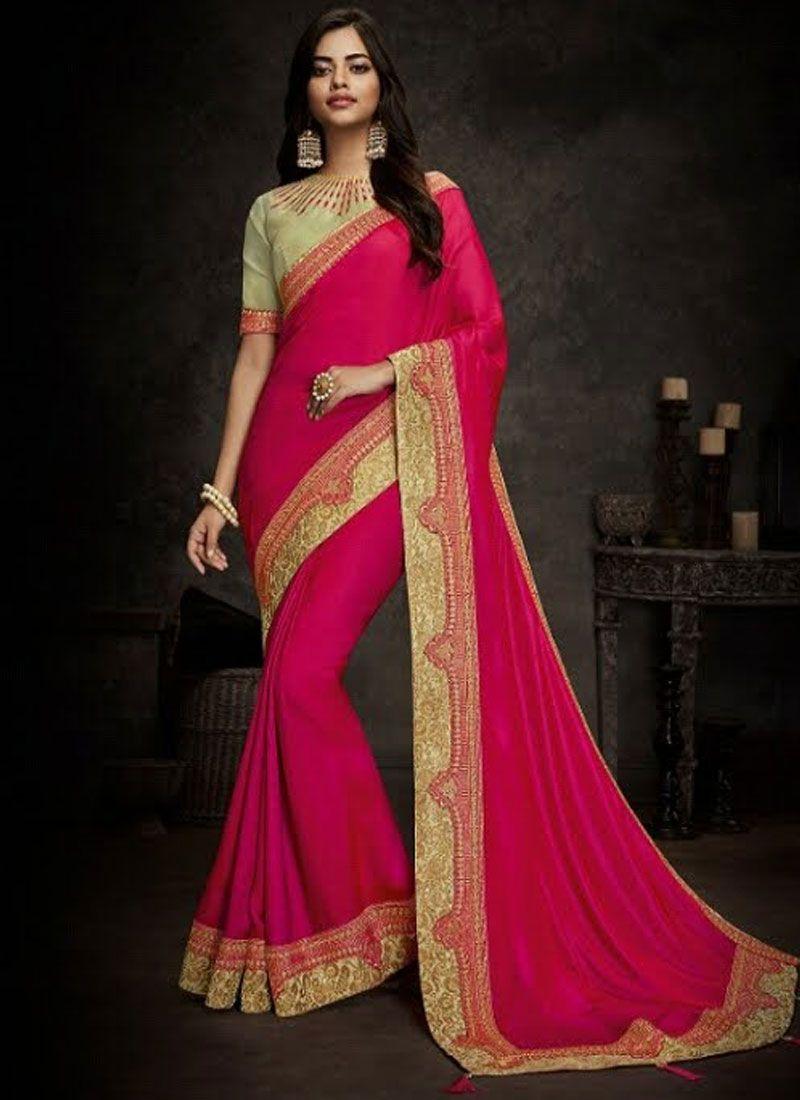 Embroidered Hot Pink Art Silk Designer Traditional Saree