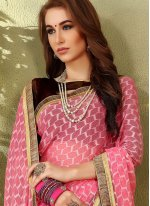 Embroidered Jacquard Designer Half N Half Saree in Brown and Pink
