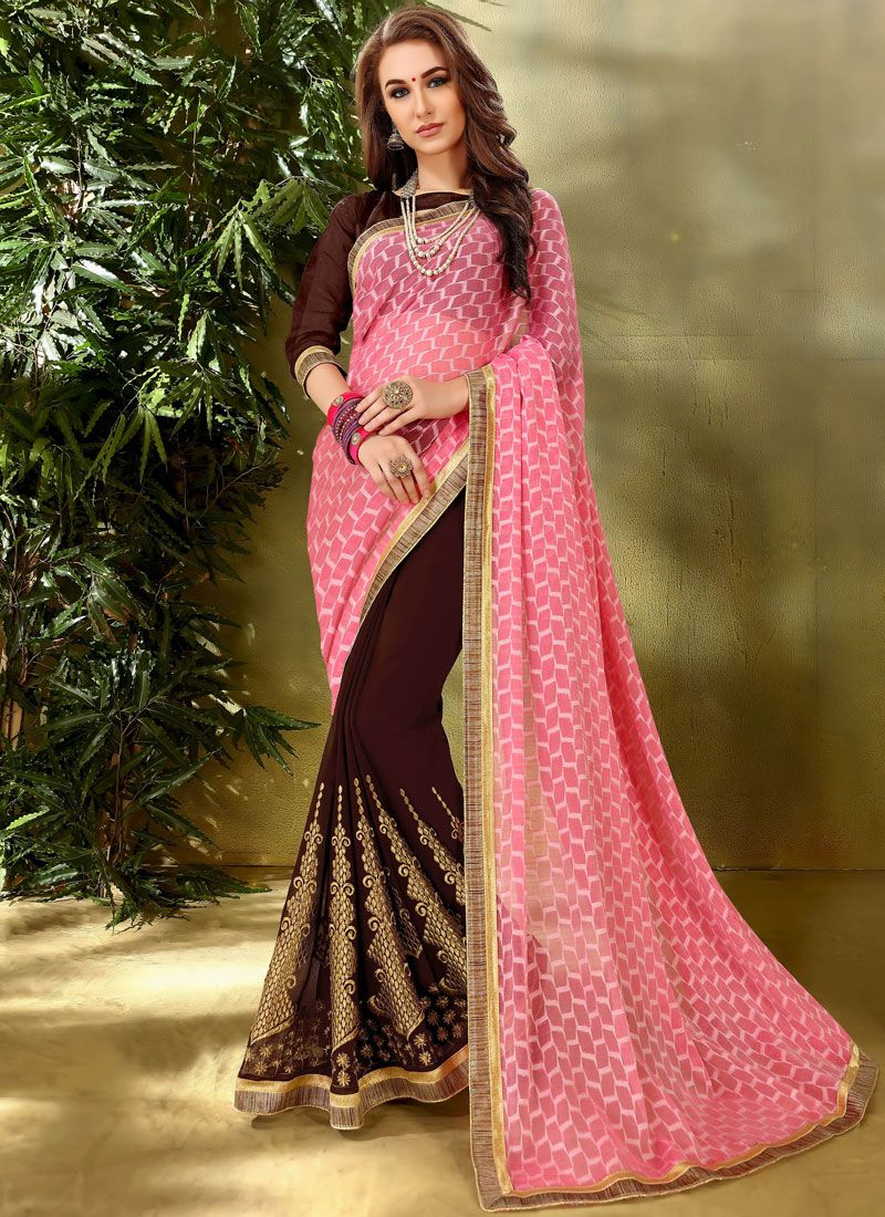 Embroidered Jacquard Designer Half N Half Saree in Brown and Pink