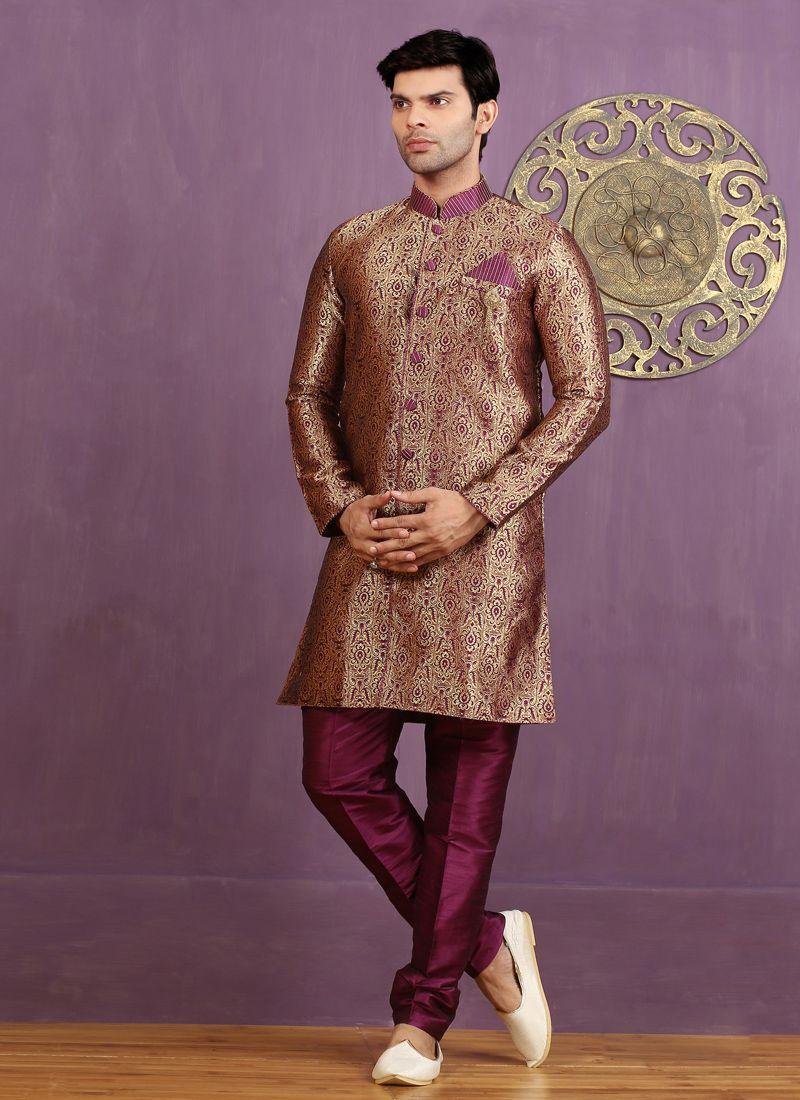 Embroidered Jacquard Silk Indo Western Sherwani in Gold and Purple