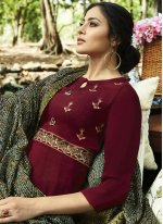 Embroidered Magenta Rayon Party Wear Kurti
