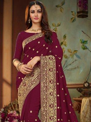 Embroidered Magenta Traditional Designer Saree