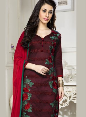Embroidered Maroon Cotton   Salwar Suit