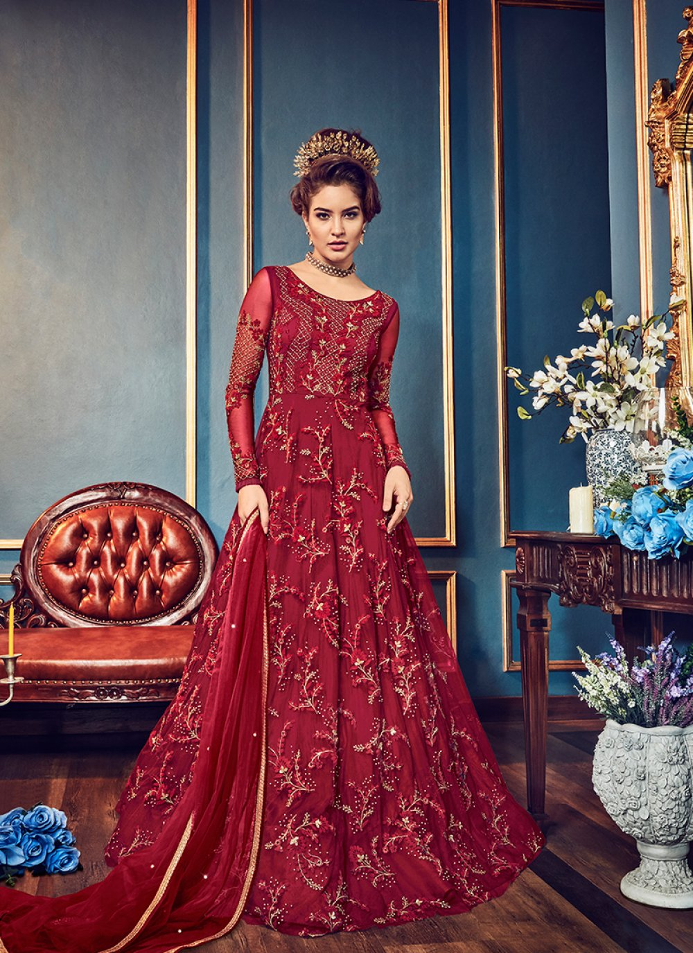 Embroidered Maroon Floor Length Anarkali Suit