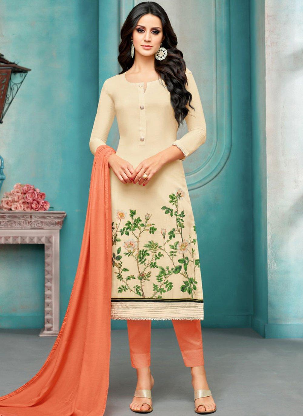Embroidered Maslin Silk Cream Salwar Kameez