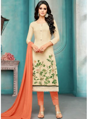 Embroidered Maslin Silk Cream Salwar Kameez