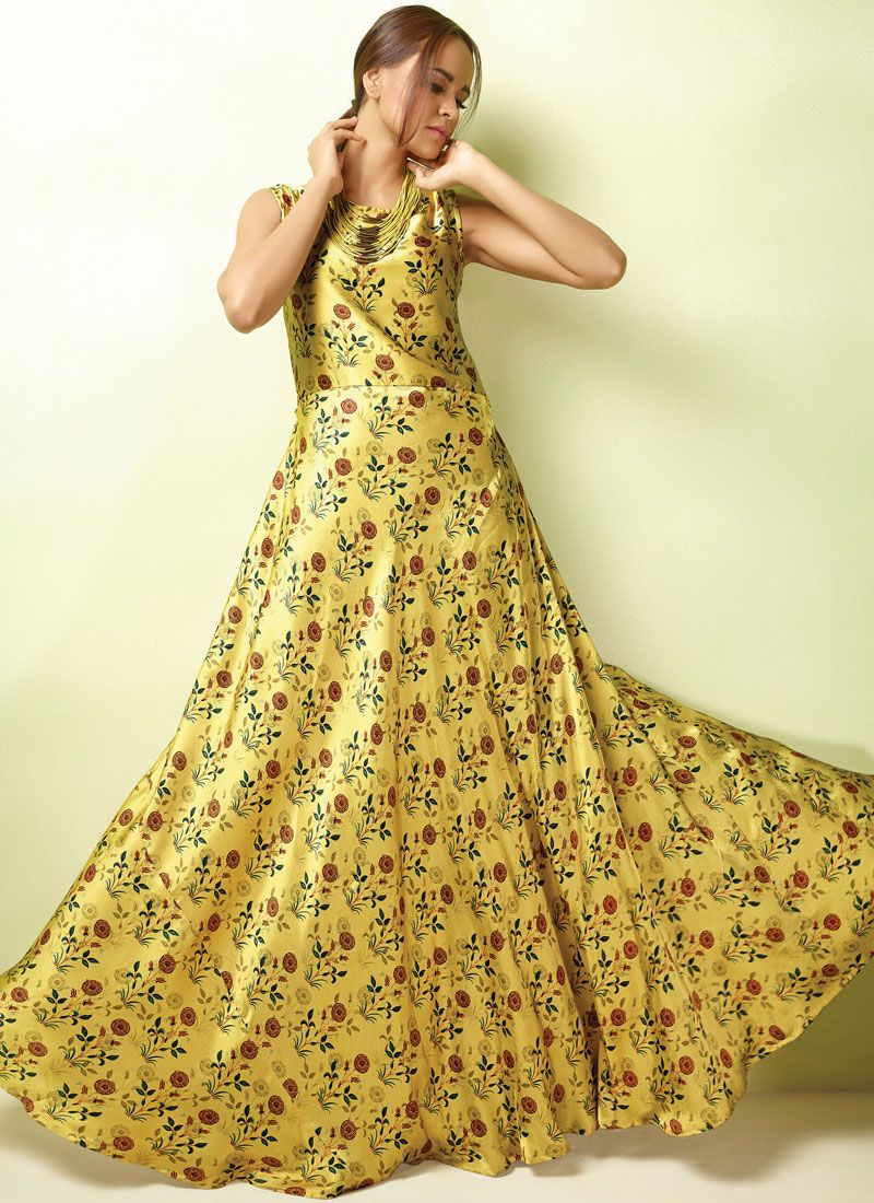 Embroidered Multi Colour Readymade Gown