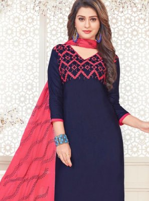 Embroidered Navy Blue Cotton Satin Churidar Suit